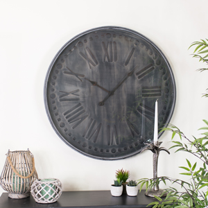 Large Round Grey Industrial Clock