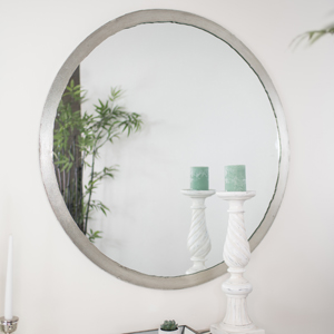 Large Round Rustic Silver Wall Mirror 100cm x 100cm