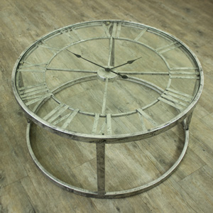 Large Round Silver Skeleton Clock Table