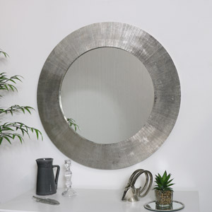 Large Round Silver Wall Mirror 88cm x 88cm