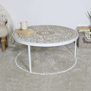 Large Round White & Cream Coffee Table