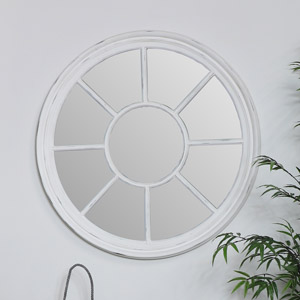 Large Round White Window Mirror