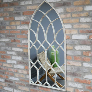 Large Rustic Arched Window Mirror 132cm x 66cm