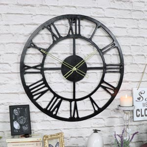 Large Rustic Black Skeleton Wall Clock