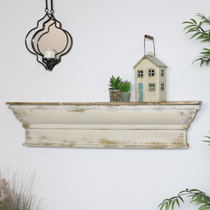 Large Rustic Cream Wooden Shelf