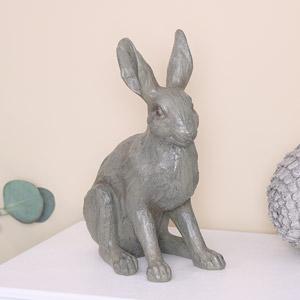Large Rustic Grey Rabbit Ornament