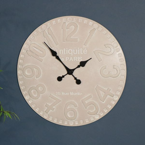 Large Rustic Round Wooden Wall Clock