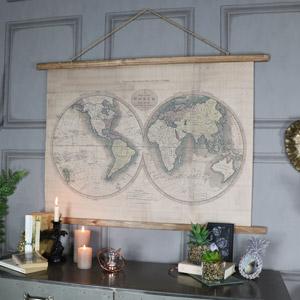 Large Rustic World Map Hanging Canvas Print 106CM x 73CM