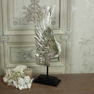 Large Silver Angel Wing on Stand