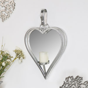 Large Silver Hanging Heart Mirror Candle Sconce