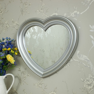 Large Silver Heart Wall Mirror