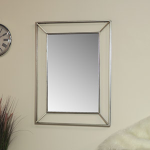 Large Silver Metal Framed Wall Mirror 76cm x 102cm