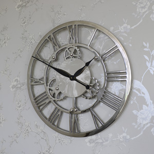 Clocks garden clocks vintage style wall clocks online from melody maison - Large brushed nickel wall clock ...