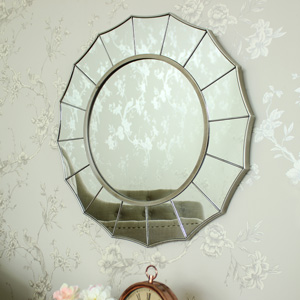 Large Silver Sunburst Art Deco Wall Mirror 61cm x 61cm