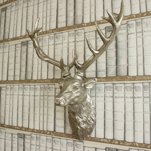 Large Silver Wall Mountable Stags Head