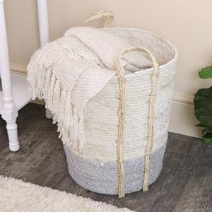 Large Tall White & Grey Seagrass Basket/Laundry Basket