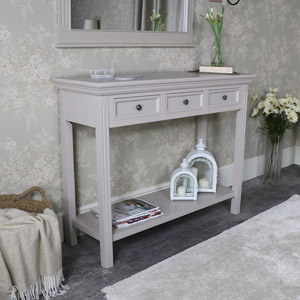 Large Grey Three Drawer Sideboard/Console Table with Shelf – Daventry Taupe-Grey Range DAMAGED SECOND 3025