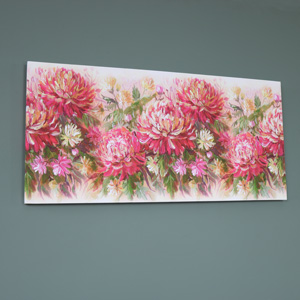 Large Vibrant Pink Floral Wall Mounted Canvas Print