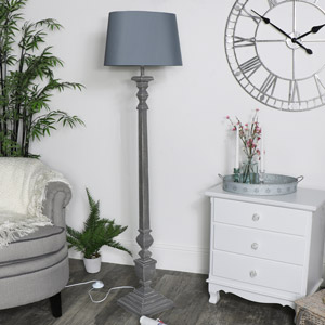 Large Vintage Floor Lamp - Grey