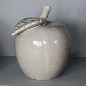 Large Vintage Grey Ceramic Apple Ornament
