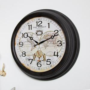 Large Vintage World Map Wall Clock