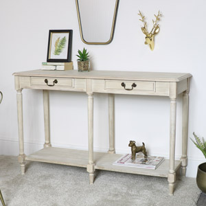 Large Washed Wooden Console Table