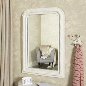 Large White Curved Arch Wall Mirror 75cm x 106cm