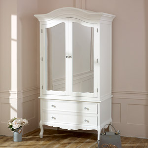 Large White Double Mirrored Wardrobe - Victoria Range