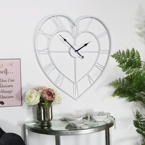 Large White Heart Skeleton Wall Clock