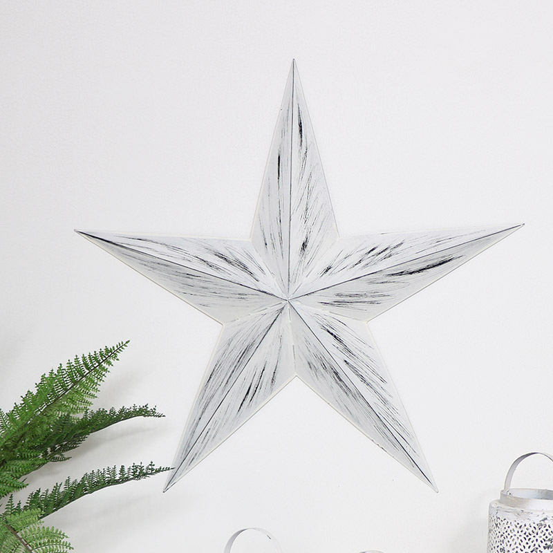 Large White Rustic Metal Barn Star