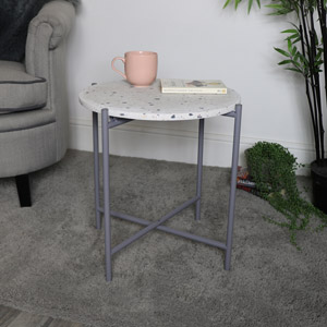 Large White Terrazzo & Grey Metal Table