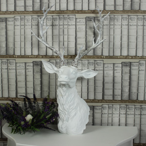 Large White Stag Head Ornamental Bust