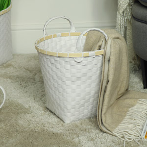 Large White Woven Waste Paper Basket