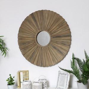 Large Wooden Sunburst Mirror