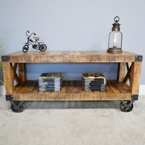 Large Wooden TV Cabinet With Wheels