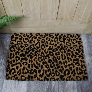 Leopard Print Coir Door Mat