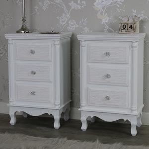 Pair of White Bedside Table Chests - Lila Range