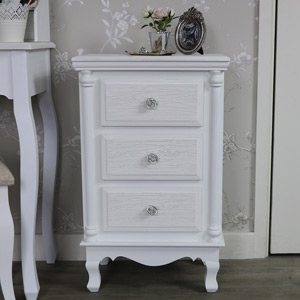 White Bedside Table Chest - Lila Range