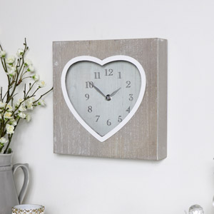 Lime Wash Wooden Heart Wall Clock