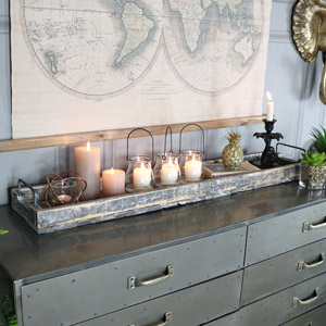 Long Rustic Wooden Tray