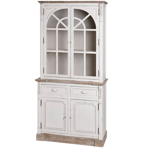 Tall Cream Glazed Display Cabinet with Storage - Lyon Range