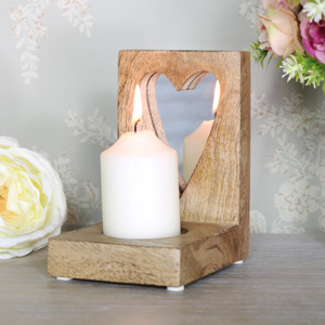 Mango Wood Mirrored Heart Candle Holder
