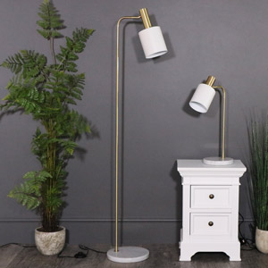 Marble Foot white & Gold Floor Lamp