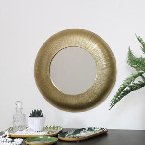 Medium Gold Curved Wall Mirror 37cm x 37cm