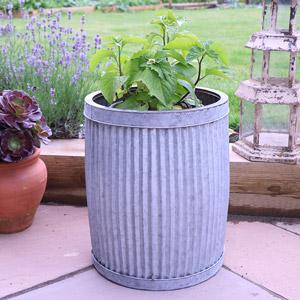 Medium Grey Metal Tub Planter