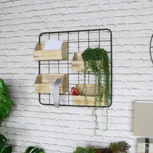 Metal Wall Frame With 4 Wooden Storage Hanging Boxes
