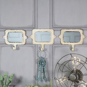 Metal Wall Mirror with Coat Hook
