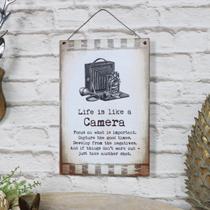 "Metal Wall Plaque ""Life is Like a Camera"""