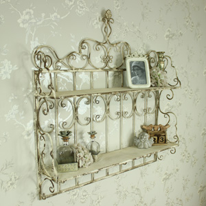 Large Rustic Cream Ornate Metal Wall Shelves