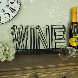 Metal 'Wine' 4 Bottle Holder